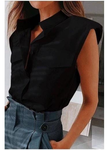 BLACK&GRACE Kadın Lila  Sıfır Kol Vatkalı Gömlek Siyah
